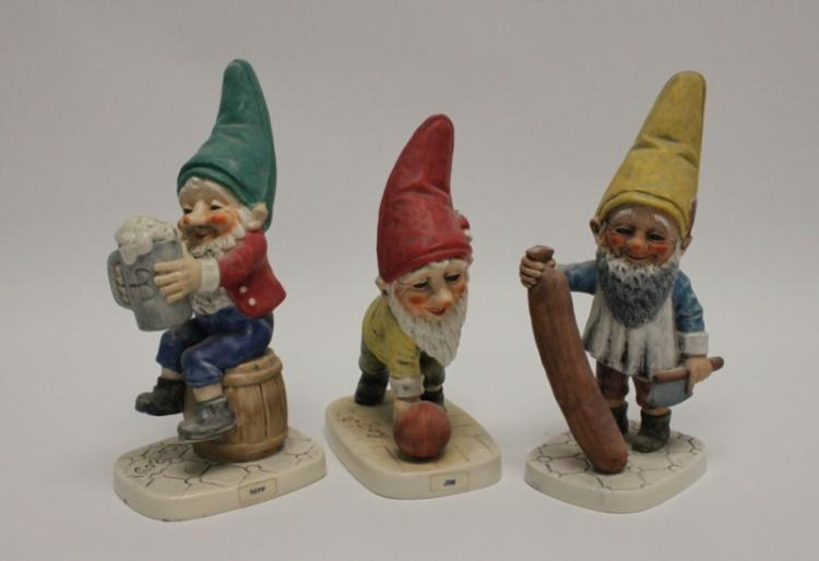 (3) Goebel W. Germany Porcelain Gnome Figurines