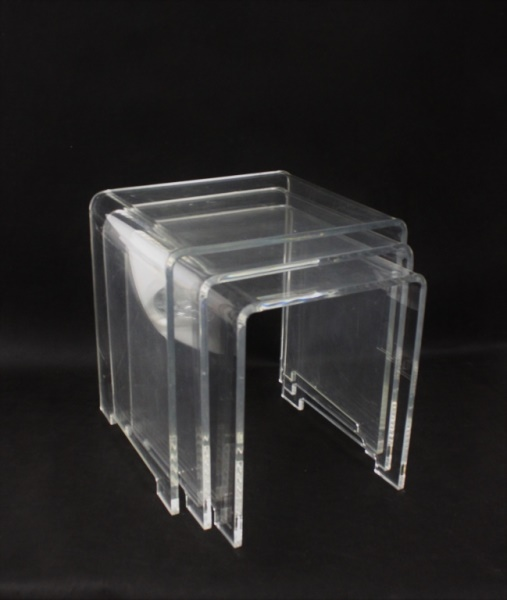 (3) Lucite Notch-Footed Nesting Tables