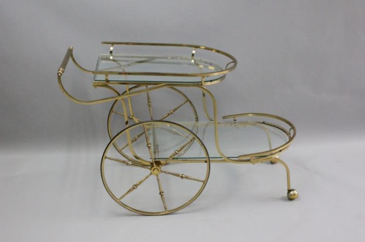 Regency 2-Tier Brass & Glass Tea or Bar Cart