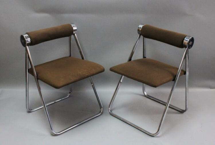 (2) Piretti Castelli Italy Chrome Folding Chairs