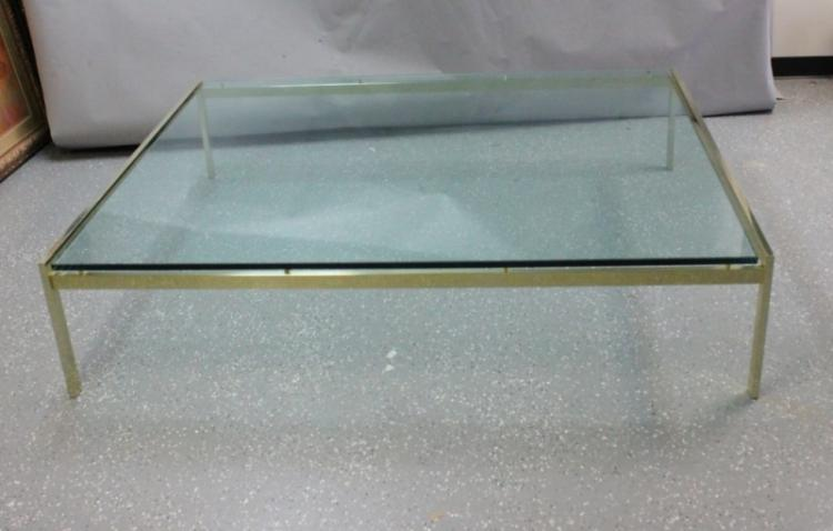 Knoll Int Brass & Floating Glass Slab Coffee Table