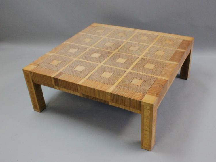 Geometric Inlay & Cross-Cut Wood Coffee Table