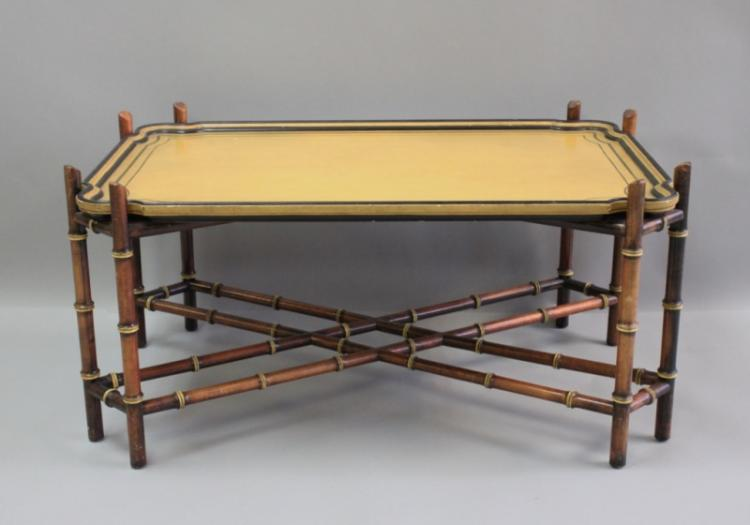 Baker Faux Bamboo Tray-Top Coffee Table
