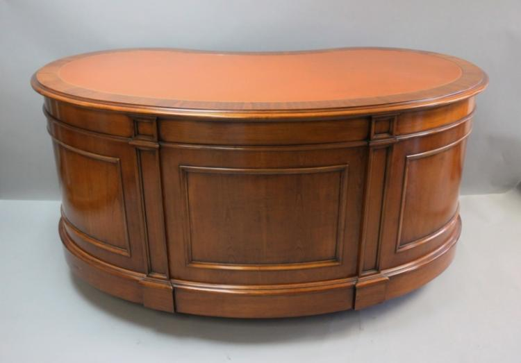 Mahogany Leather Top Kidney Shape Executive Desk