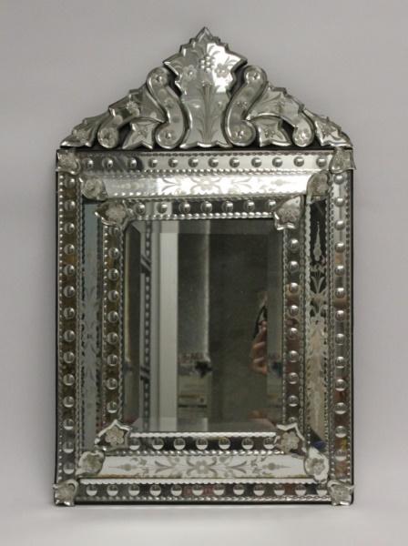 Hollywood Regency Venetian Mirror w/ Bull's Eyes