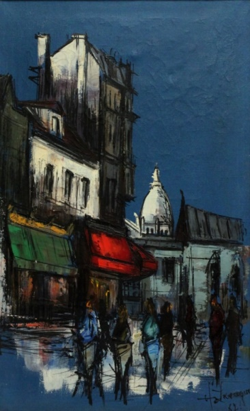 MCM Paris School Painting Street Scene Signed '62