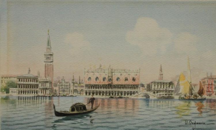 Umberto Ongania (Venice 1867-1942) Canal Scene wc