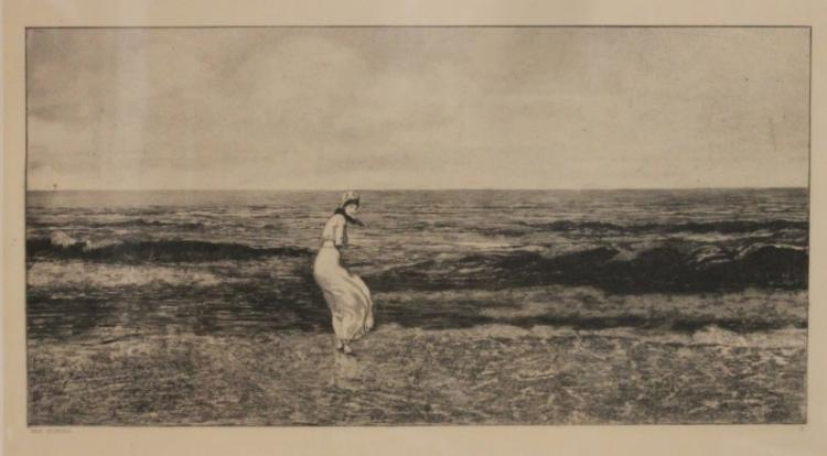 Max Klinger, German 1857-1920 Etching Girl n Beach