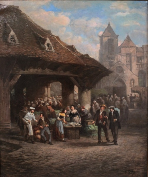 19th C Leonard Sauerfelt (French) Market Scene O/C