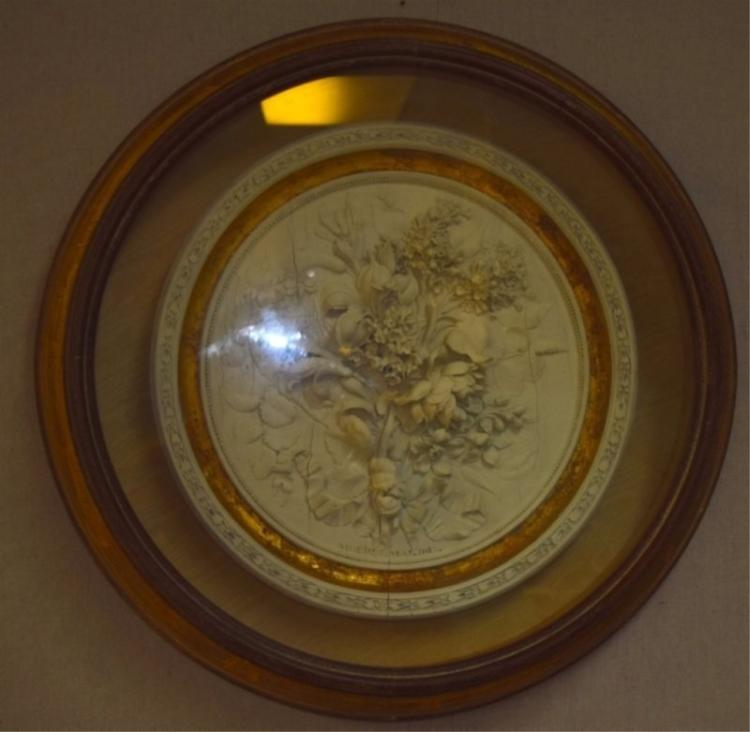 1815 Mouret Plaster Floral Wreath in Shadowbox