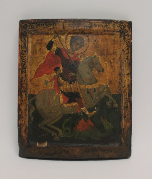 18th C Russian Icon St. George and the Dragon