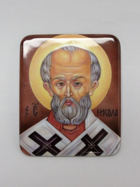 Russian Orthodox Saint Nicholas Porcelain Icon