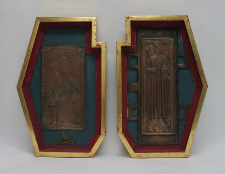 (2) 19th C. Germanic Bronze Religious Plaques