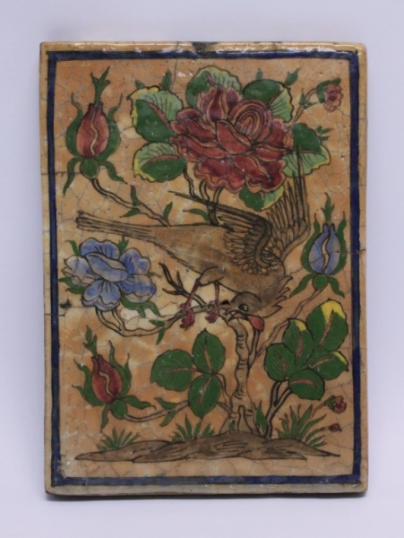 18/19th Century Persian Tile w Bird in a Rose Bush