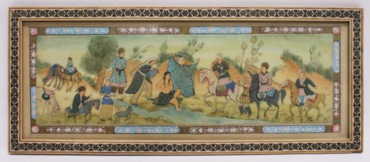 Mughal Painting Bathing Nude by Stream w Horsemen