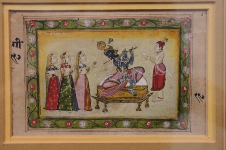 Asian Indian Mughal Painting of a Jinn w Flute
