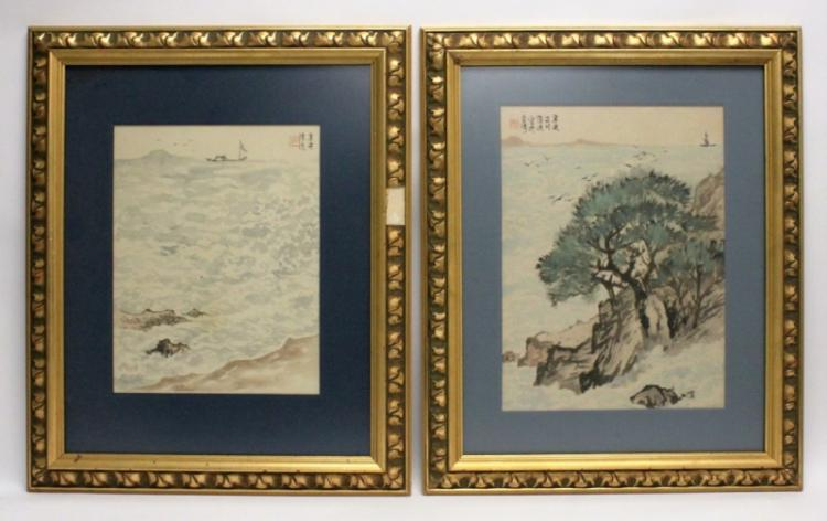 (2) Oriental Watercolors on Rice Paper Seascapes