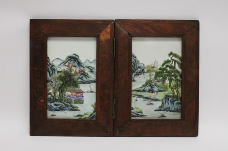 2 Famille Verte Chinese Painted Porcelain Plaques