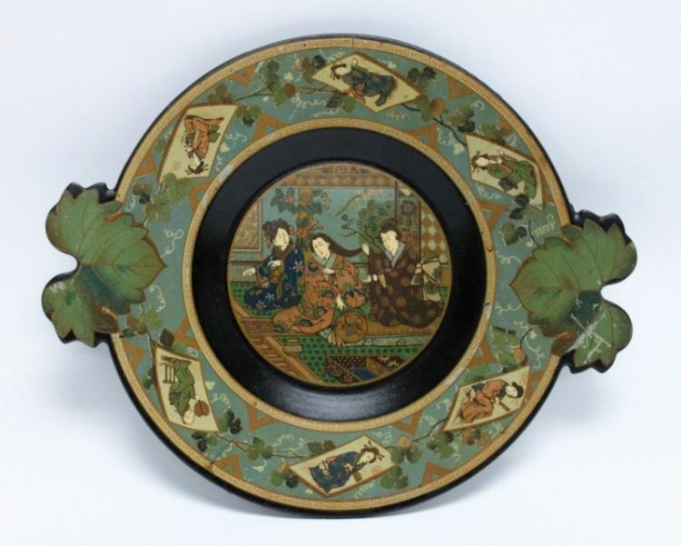 19th C Oriental Lacquer Plate Decorated w Women