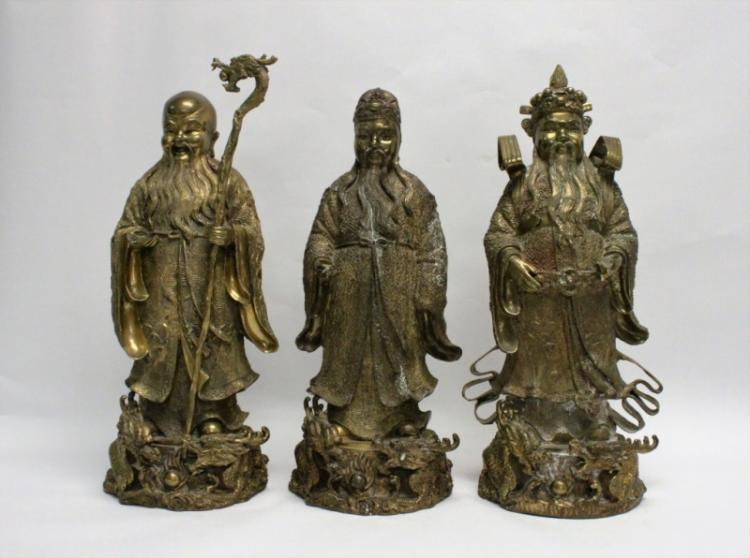 (3) Large Oriental Bronze Sculptures, Confucius