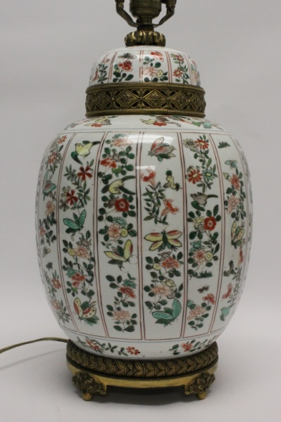 Chinese Export Hand Painted Ginger Jar Lamp