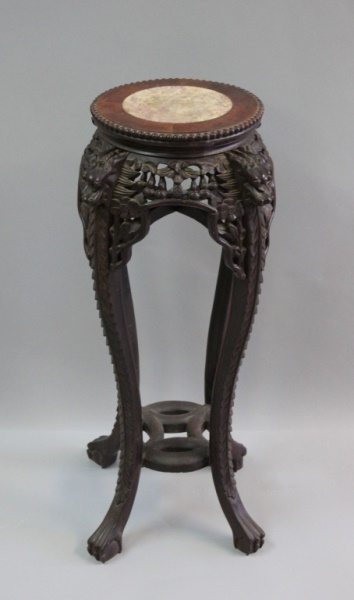 19th C Chinese Carved Wood & Marble Tabouret Table