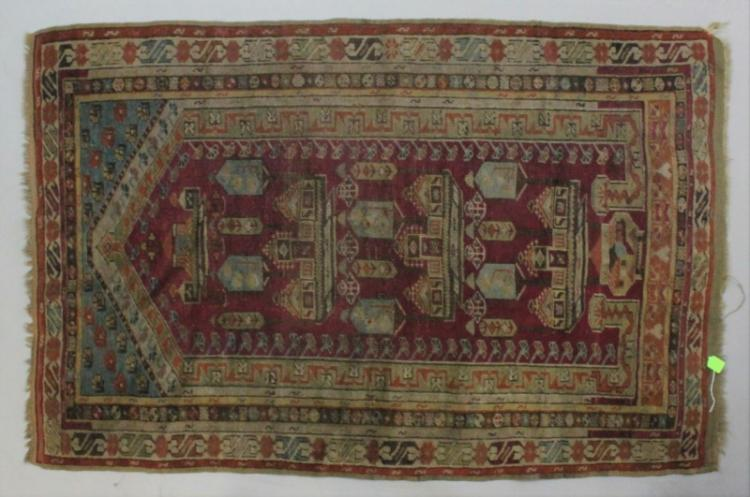Early Oriental Wool on Wool Prayer Rug