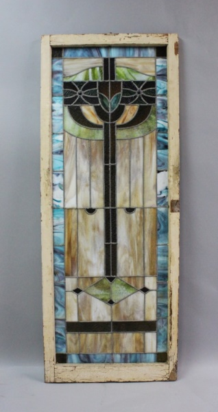 Antique Judaica Stained Glass Window w/ Menorah