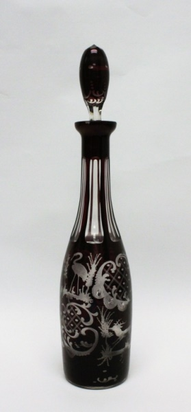 Bohemian Ruby Cut Crystal Decanter w/ Stopper