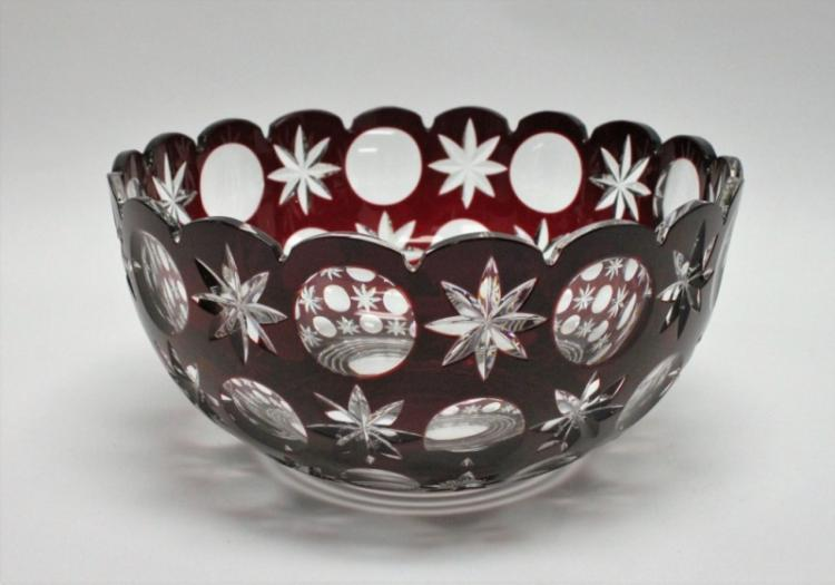 Large Bohemian Ruby Cut to Clear Bowl