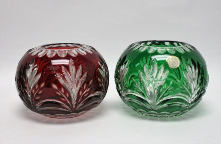 (2) Green, Ruby Cut-Clear Lead Crystal Rose Bowls