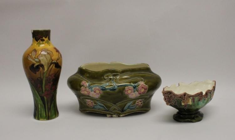 (3) Pcs Art Nouveau Majolica Pottery Sevres