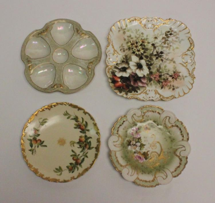 (4) Limoges Porcelain Hand Painted Serving Plates