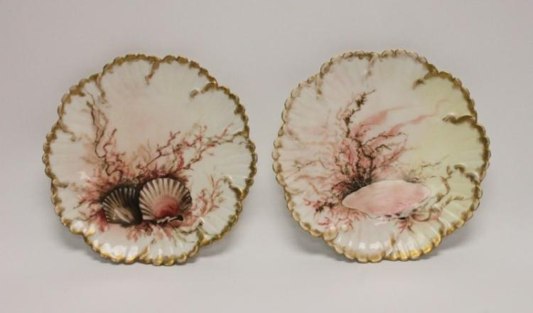 (2) Bavarian Hand Painted Seafood Serving Plates