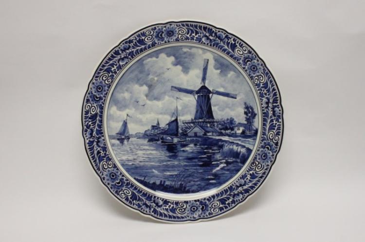 Delfts Blauw Scenic Platter w Windmill & Boats