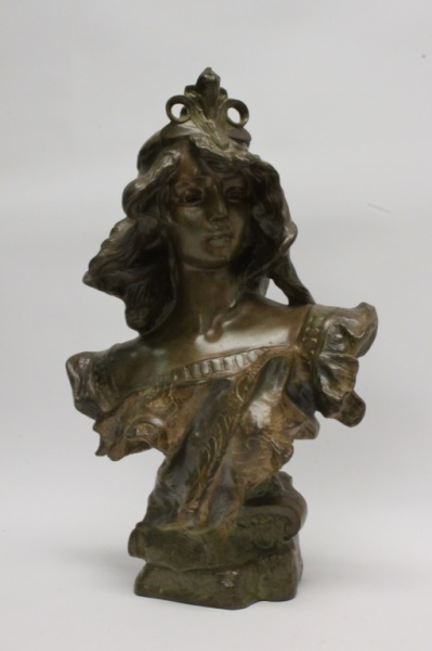 French Art Nouveau Cast Metal Bust of Woman Signed