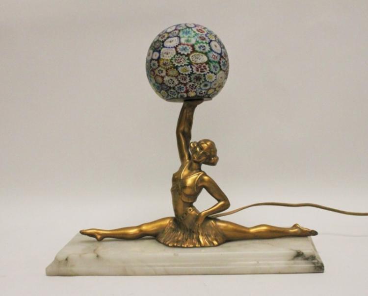 Art Deco Ballerina Lamp with Millefiori Shade