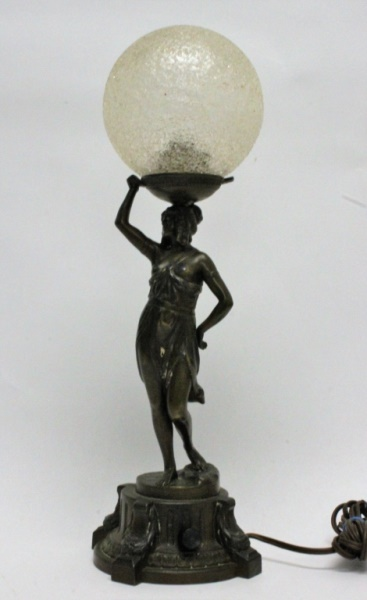 Vintage French Art Deco Nude Female Globe Lamp