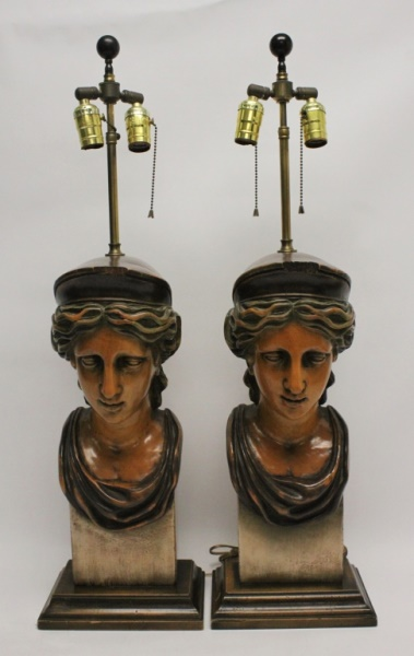 (2) Deco Carved & Painted Wood Female Bust Lamps