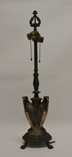 Early 1900's Antique Bronze Lamp w/ Marble Eagles
