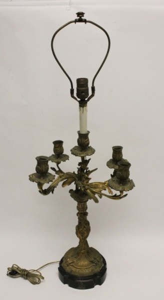 19C French Dore Bronze Rococo Candelabra w Cherubs