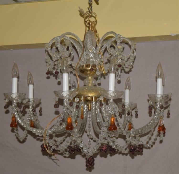 8 Light Two Tier Draped Crystal Murano Chandelier