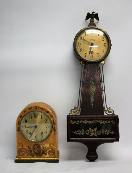 (2) Vintage American Tole Painted 8-Day Clocks