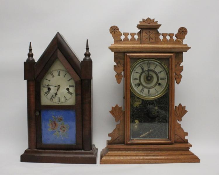 (2) 19th C Carved Wood Mantel Clocks