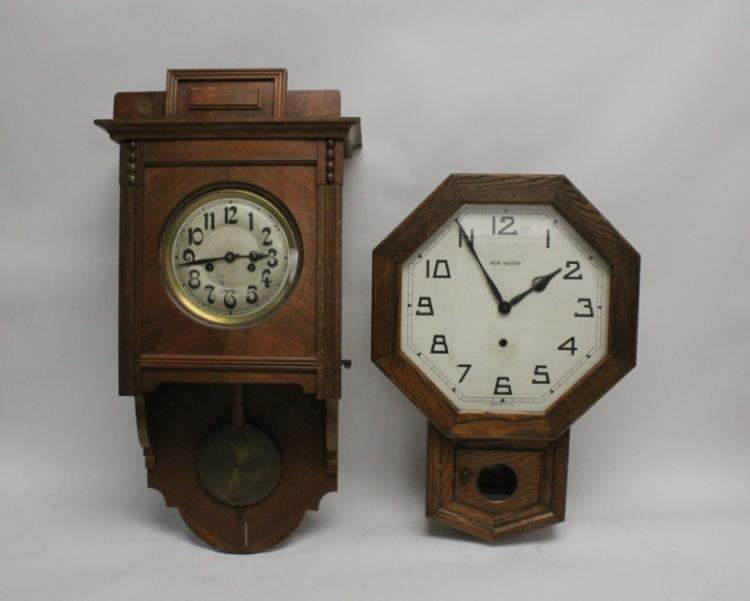 (2) 19th C American, European Wood Wall Clocks