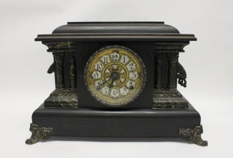 19th C Ebonized Wood & Faux Marble Mantle Clock