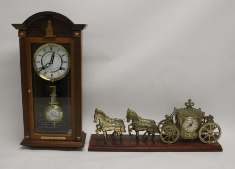 (2) 19th C Wood Cased Clocks: Wall and Mantle
