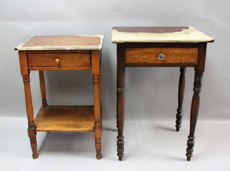 2 1820's Sheraton 1 Drawer Plank Top Candle Stands