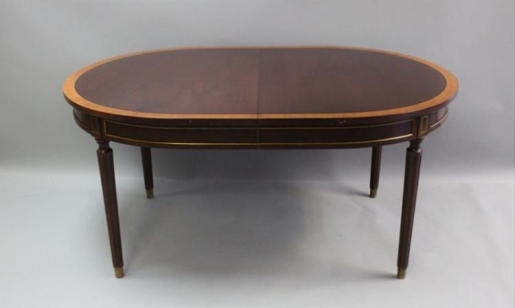 Banded Mahogany and Brass Inlay Dining Table