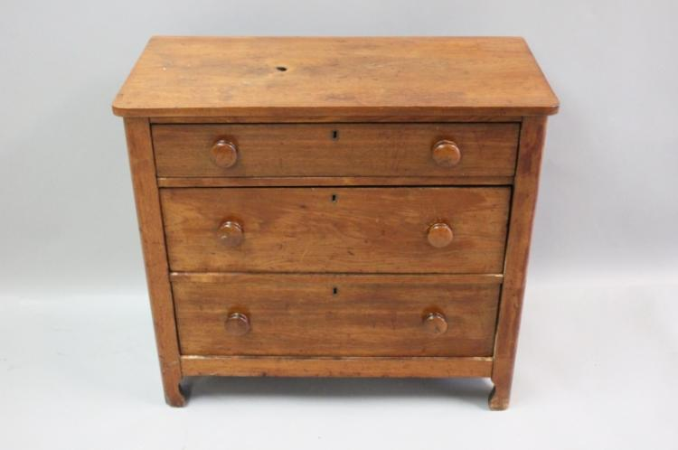 19th C Pine Wash Stand with 3 Drawers